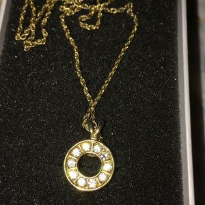 Small circle gold necklace and CZ stones